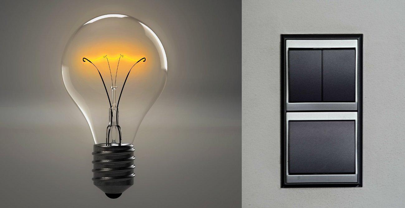 une ampoule et deux interrupteurs