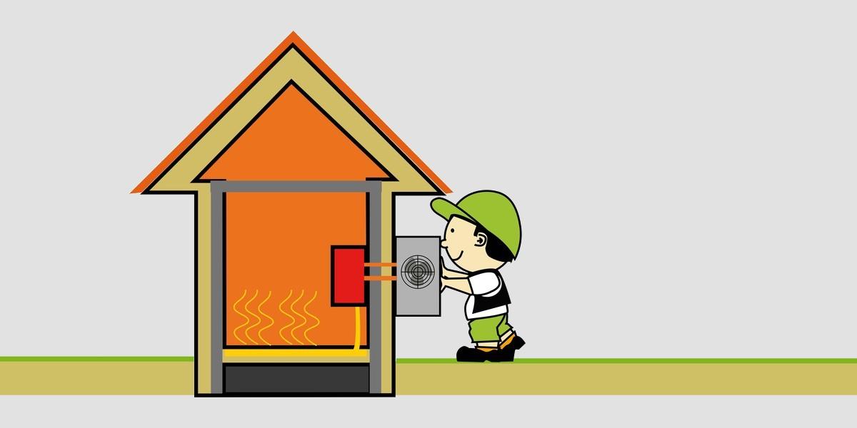 dessin d'une pompe à chaleur